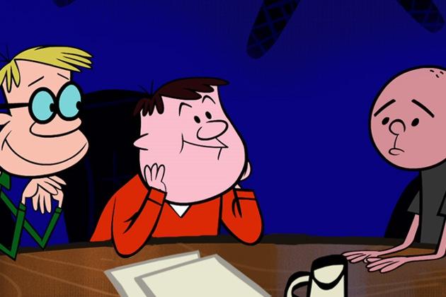 Animaatiosovitus. Vasemmalta oikealle: Stephen Merchant, Ricky Gervais, Karl Pilkington