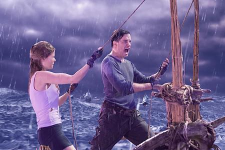 Anita Briem ja Brendan Fraser.