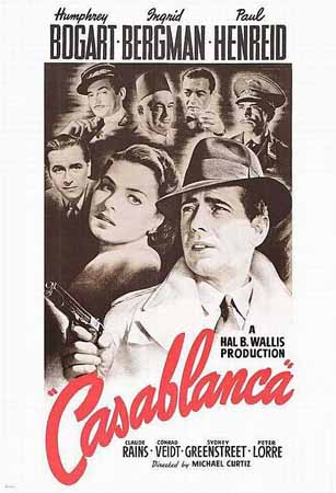 Takana Paul Heinreid, Claude Rains, Sydney Greenstreet, Peter Lorre ja Contrad Veid. Edessä Ingrid Bergman ja Humphrey Bogart.