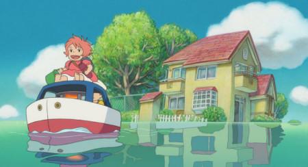 Ponyo ja Sosuke kynttiläveneessä