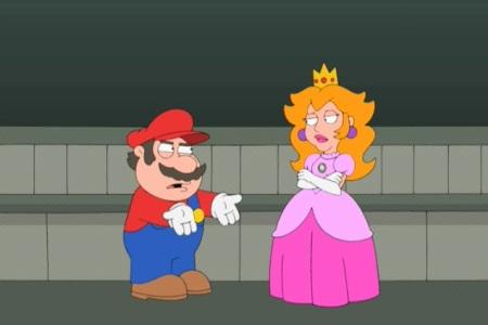 Super Mario vonkaa pusua prinsessalta